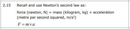 GCSE Physics Specification Newtons 2nd Law